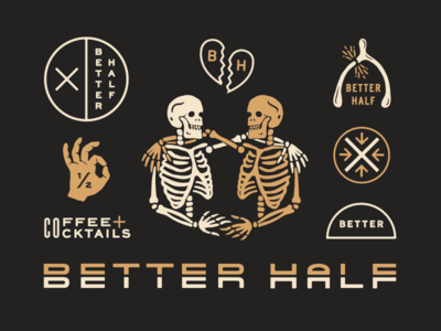 Better Half System branding cocktails coffee safari tan overlay badge typography heart wishbone skeleton design logo