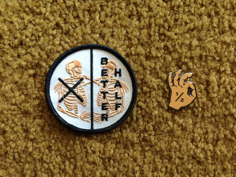 Better Half Swag logo icon design hand enamel pin skeleton swag patch pin