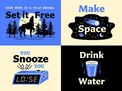 Crop Talk type snooze alarm clock wolf space water design talk