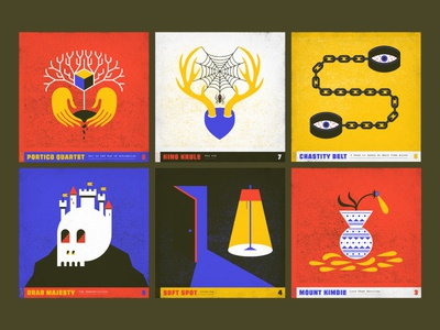 10x17 8 through 3 hands tree handcuffs lamp antlers flower skull music primary colors album art album design 10x17