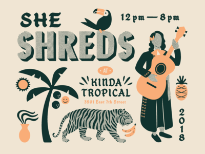 She Shreds toucan plant vase pineapple palm tree tiger guitar female showcase she shreds