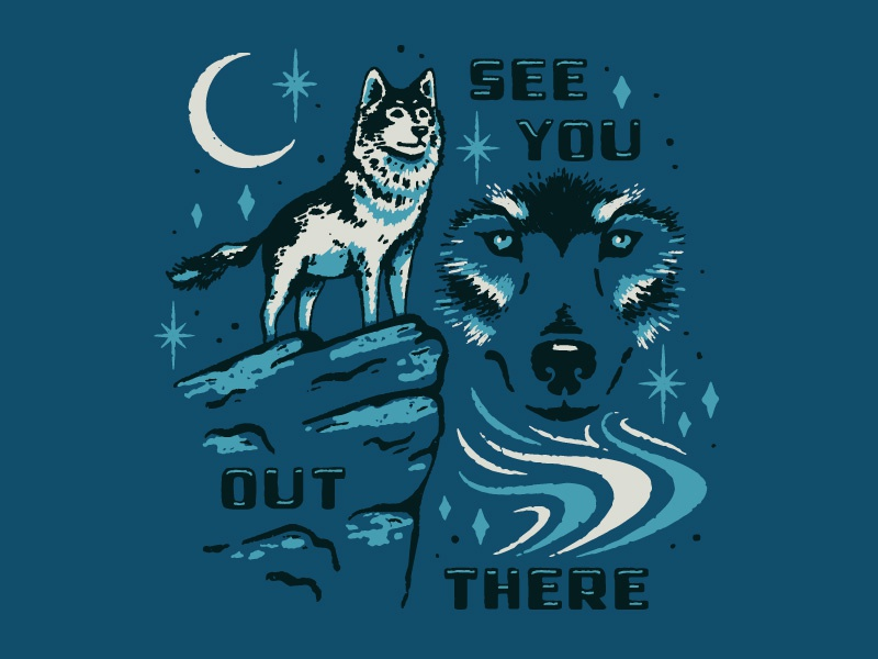 See ya wolf face moon cliff animal mystical wolf