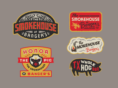 Smokehouse smoke logotype patch badge logo pig whole hog texas austin bbq smokehouse