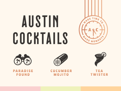 Austin Cocktails 2 cucumber tornado binoculars palm tree icons drinking alcohol cocktails austin