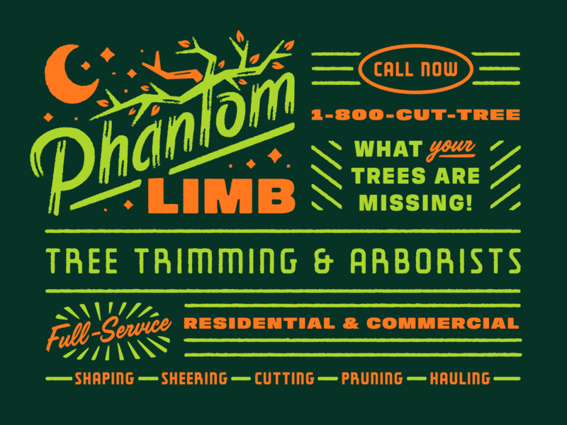 Phantom Limb Adobe Live type logo design spooky scary october halloween tree arborist phantom limb adobe live