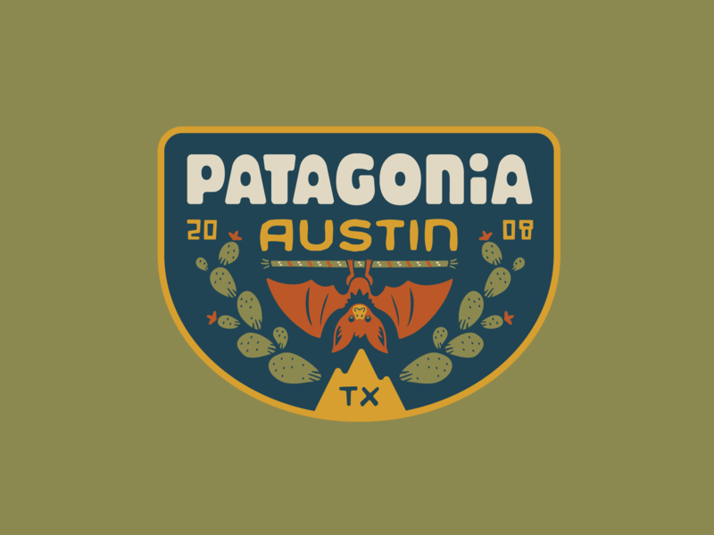 Patagonia Austin cactus bat anniversary patch badge logo austin patagonia