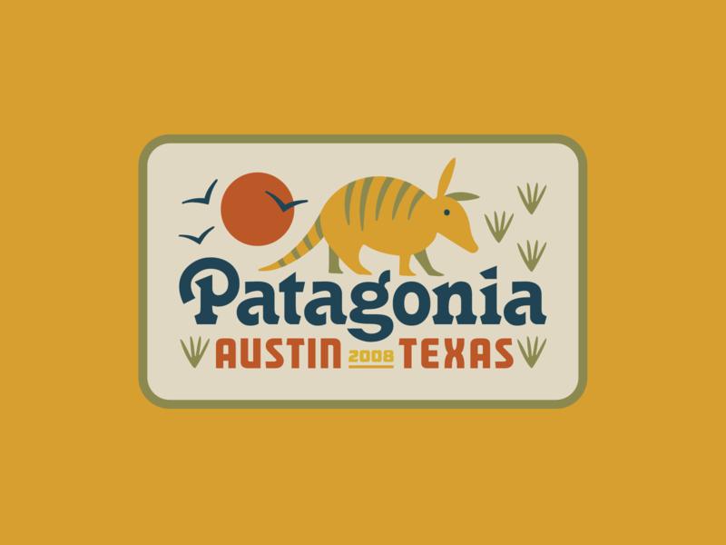Patagonia Austin II badge logo birds patagonia texas armadillo austin