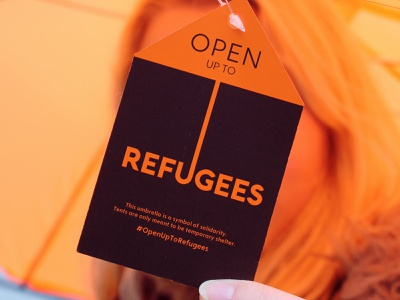 Refugee Solidarity Tent Umbrella illustrator campaign advertising refugees justice conceptual ideas photography