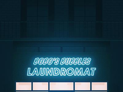 Bobo's Bubbles, London shop front bubbles bobo laundromat building building portrait london illustrator illustration