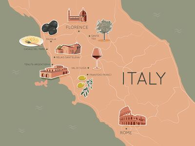 Italy Illustrated Map mapping map illustrator illustration