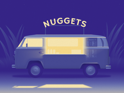 Nuggets Truck nuggets campervan camper car vw camper dribble weekly warm up food truck illustration illustrator