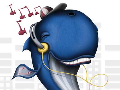 Walk like a man whale walkman music dance illustration character design pascal schmidt schmydt