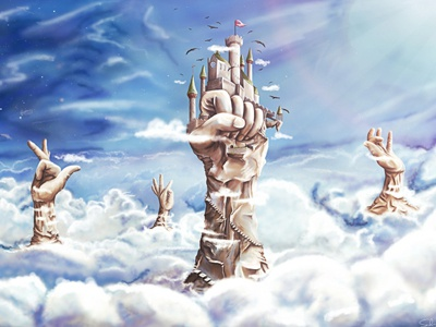 Reach for the stars hands artwork pascal schmidt schmydt reach for the stars discovery sky cloud castle stone hands illustration