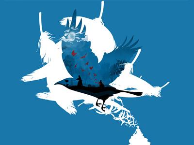 Bloody envoy illustration artwork pascal schmidt schmydt dead bloody crow samurai vector feather fly meditate