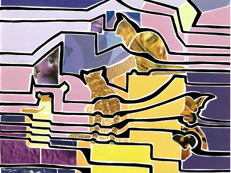 Siberian cats' square (Tyumen, Russia) silhoutte outline monument cat yellow purple siberia tyumen city view russia illustration paper pieces mosaic collage bright