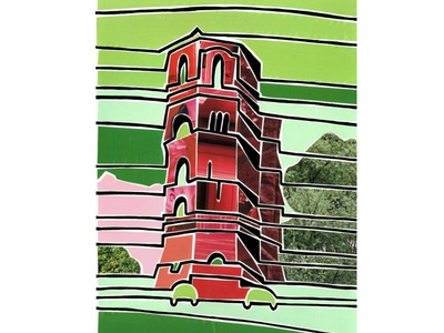 Water tower (Tyumen, Russia) silhoutte outline green red water tower siberia tyumen city view russia illustration paper pieces mosaic collage bright