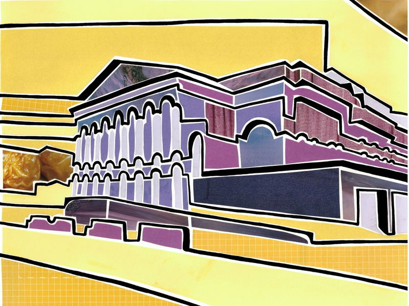Theatre (Tyumen, Russia) purple yellow theatre silhoutte outline siberia tyumen city view russia illustration paper pieces mosaic collage bright