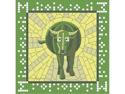 М for March (Calendar 2021) yellow spring glance square ox bull sunny sun march 2021 calendar 2021 calendar green russian pieces collage mosaic illustration bright