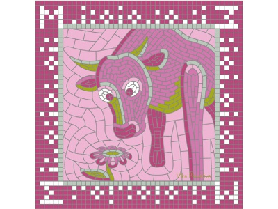 М for May (Calendar 2021) square sniff pink spring glance flower ox bull 2021 calendar 2021 calendar may russian pieces collage mosaic illustration bright