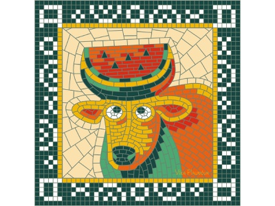 A for August (Calendar 2021) juicy character animal glance square august summer horns 2021 calendar 2021 calendar ox bull watermelon russian pieces collage mosaic illustration bright