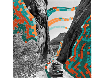 Mosaic reality collage digital old car canyon road trip path road mountain illustration bright pieces mosaic collage maker collage art collage photo black and white america usa desert utah