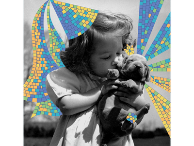 Mosaic moment fairy tenderness hug kiss dog puppy girl usa america black and white photo collages collage digital collage art collage maker pieces collage mosaic bright illustration