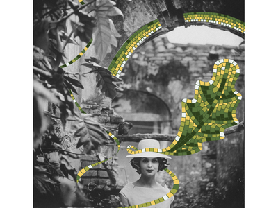 Mosaic look green face woman digital mosaic leaf hat leaves collage digital collage art black and white photo usa look model fasion pieces collage mosaic illustration bright