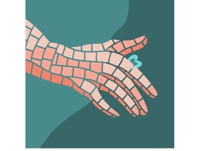 Softly touch tender people skin love day vector illustration fingers lovers couple valentines day 14 february connection relationships tenderness touch love heart hand pieces mosaic illustration