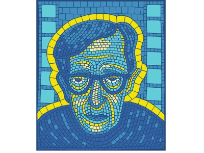 Director glasses face human character tired glance creator old man yellow blue man portrait cinema movie director mosaic illustration bright
