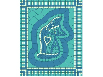 Surprised cat blue heart vector pose pet animal surprised amazed kitty illustration kitty kitten cat pieces mosaic illustration