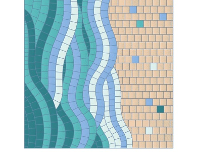 Green mosaic waves by the ocean freedom surf ocean water sand mosaic on canvas aesthetics roman mosaic sunny day summer green seaside wave sea collage pieces mosaic bright illustration