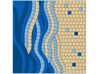 Blue mosaic waves chill mosaic on canvas interior poster summer blue water roman mosaic aesthetics freedom sunny day sand seaside wave ocean sea collage pieces mosaic bright illustration