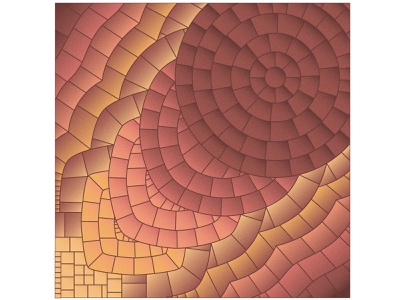 Becoming smooth (with color) process becoming abstract blend interior poster miracle stone roman mosaic mosaic on canvas yellow red perfection circle square gradient collage pieces bright mosaic illustration