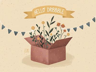 HELLO, DRIBBBLE celebrate invite illustration