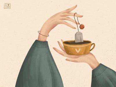 COSINESS tea cozy hands illustration