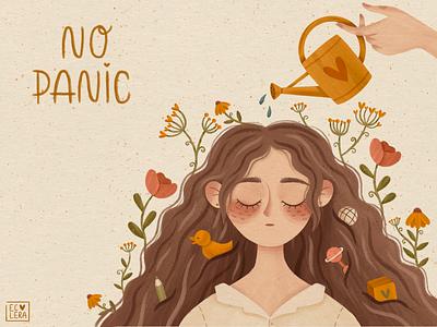 NO PANIC bribbble magic girl sketch flowers artist children illustrator children illustration illustrator illustration