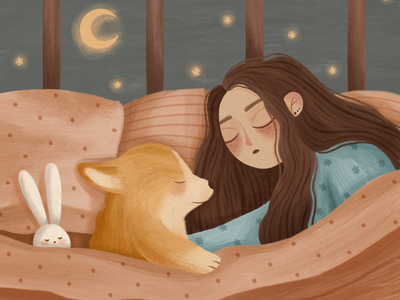 DREAM dog girl cozy brand sleep cute illustration corgi children children illustration