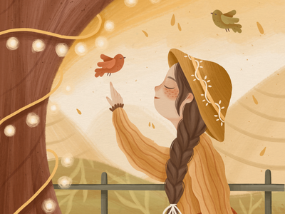 FARM GIRL cozy warm girl bird children illustration children illustrator illustration