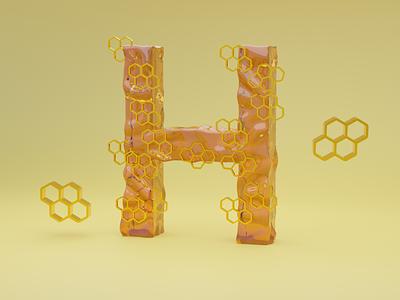 H for Honey - 36 days of type font design illustration typogaphy fonts font 36daysoftype logo branding 3dillustration 3d art 3d