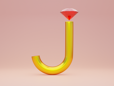 J for Jewellery - 36 days of type jewellery jewelry font design 36 days of type illustration typogaphy fonts font 36daysoftype logo branding 3dillustration 3d art 3d