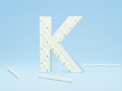 K for Kaleidoscope - 36 days of type font design illustration typogaphy fonts font 36daysoftype logo branding 3dillustration 3d art 3d