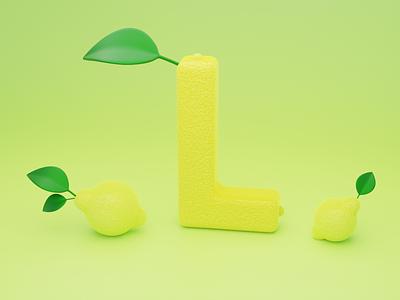 L for Lemon - 36 days of type font design illustration typogaphy fonts font 36daysoftype logo branding 3dillustration 3d art 3d