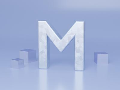 M for Metal - 36 days of type font design illustration typogaphy fonts font 36daysoftype logo branding 3dillustration 3d art 3d