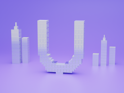 U for Urban - 36 days of type font design fonts typogaphy font 36daysoftype logo branding 3dillustration 3d art 3d