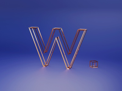 W for Wireframe - 36 days of type font design fonts typogaphy font 36daysoftype logo branding 3dillustration 3d art 3d
