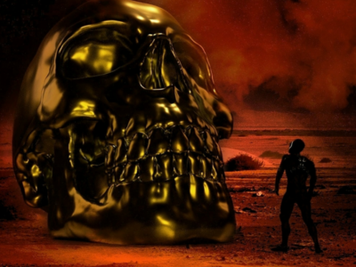 The golden skull surereal arnoldrender photoshop skullart skull 3dmodel 3drender photorealistic conceptart cinema4d