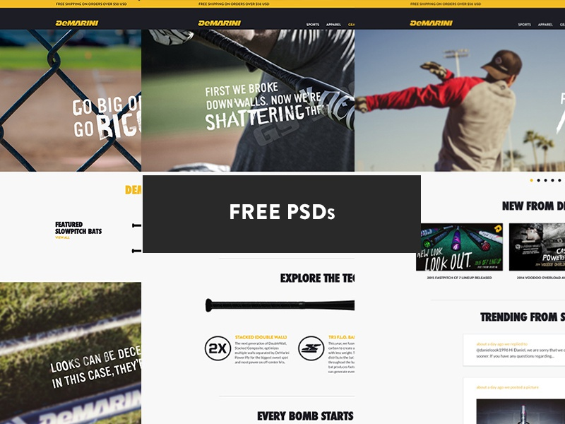 Demarini Sports - Free PSDs demarini psds web design joe norton incredipixel free sports freebie website design psd