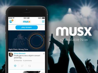 Musx 2.0 Released! app app design feed preview social music design savvy apps musx