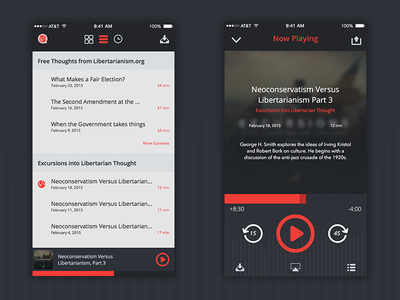 Cato List View & Player View sketch interface experience ux app design animation podcast list design savvy apps cato
