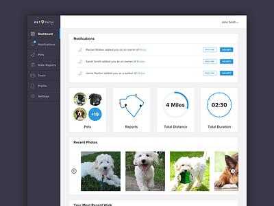 PetPath Dashboard dog walking norton joe apps savvy user interface web dashboard pet path